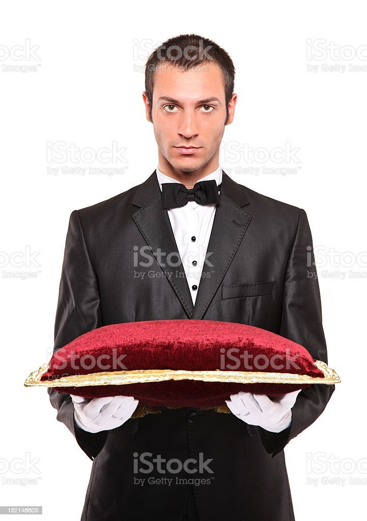 Man holding a pillow stock photo