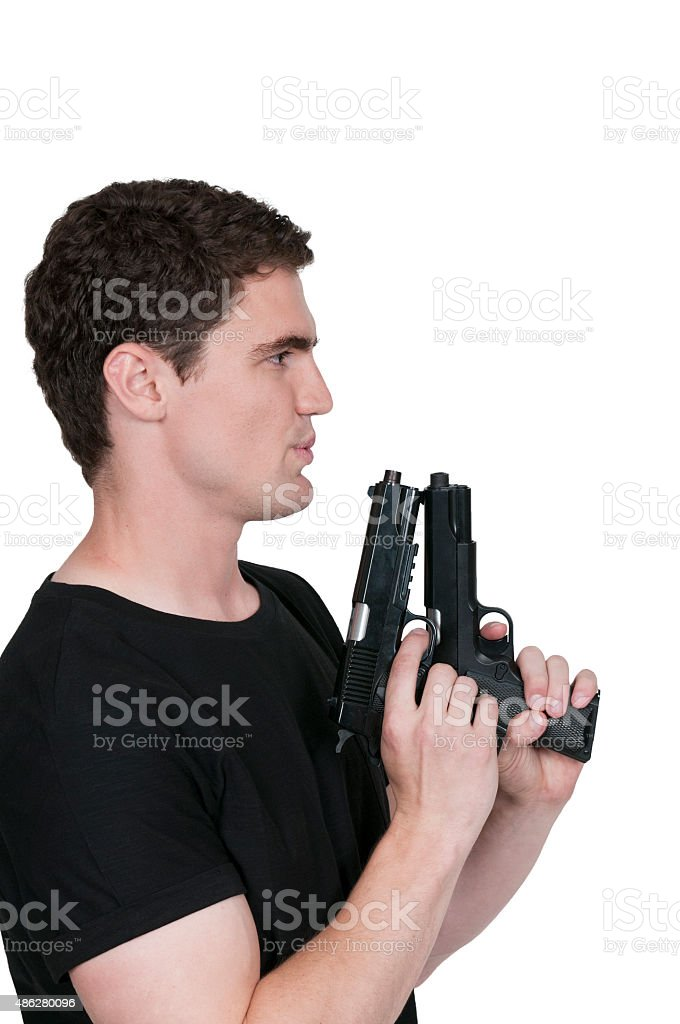 Man holding a pistol stock photo