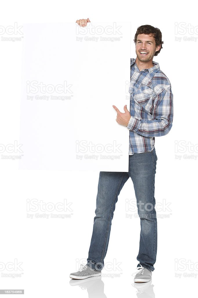 Man holding a placard royalty-free stock photo