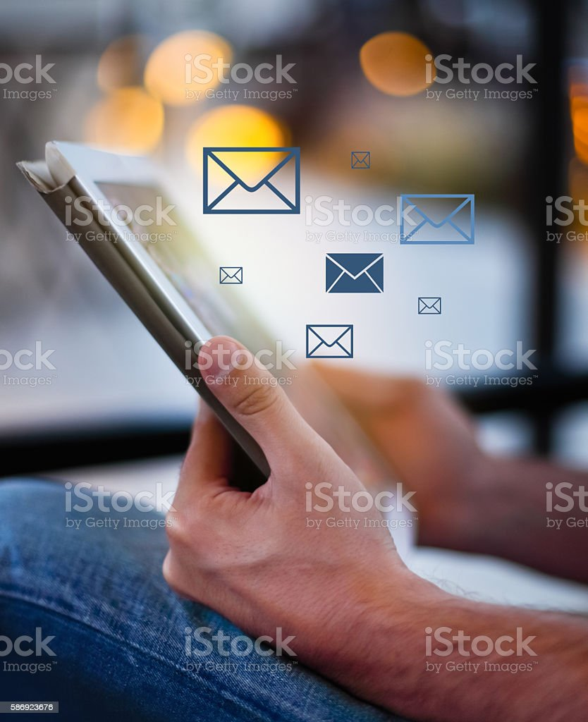 Man holding a tablet pc stock photo