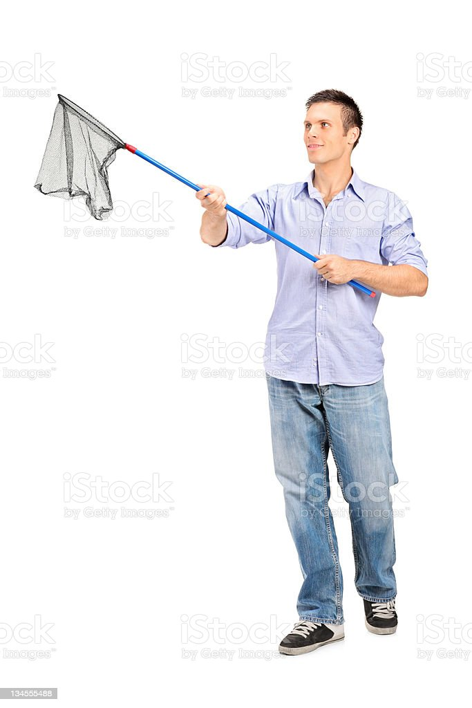 Man holding an empty fishing net stock photo