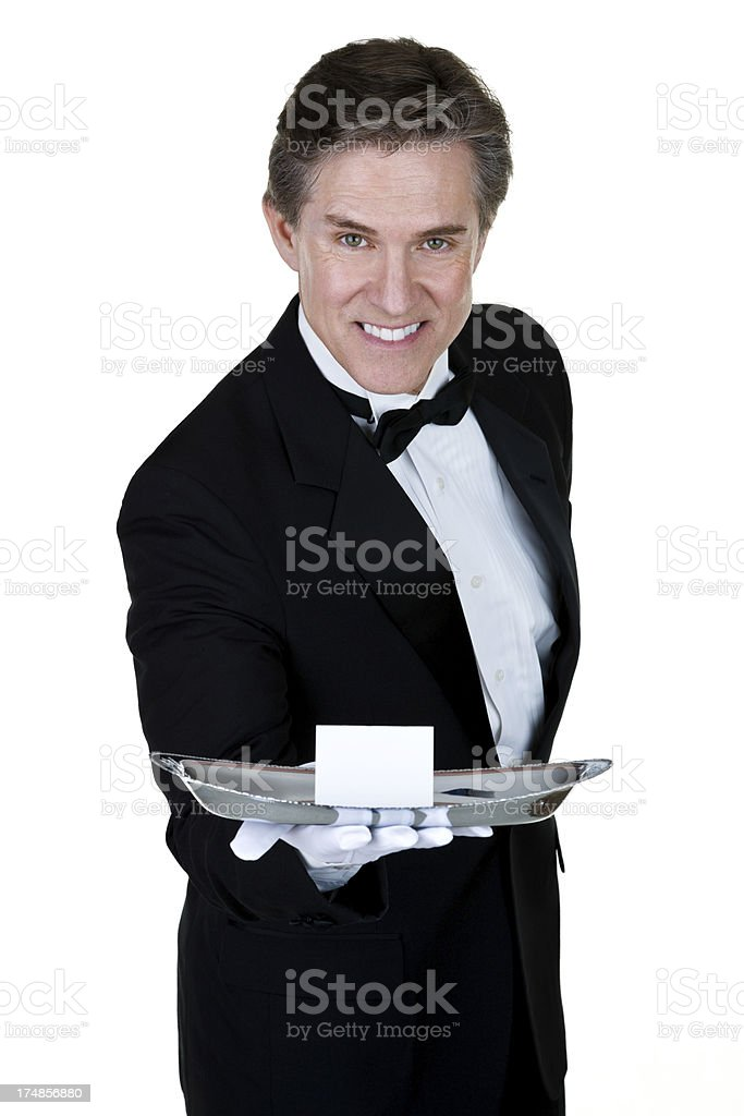 Man holding an invitation royalty-free stock photo