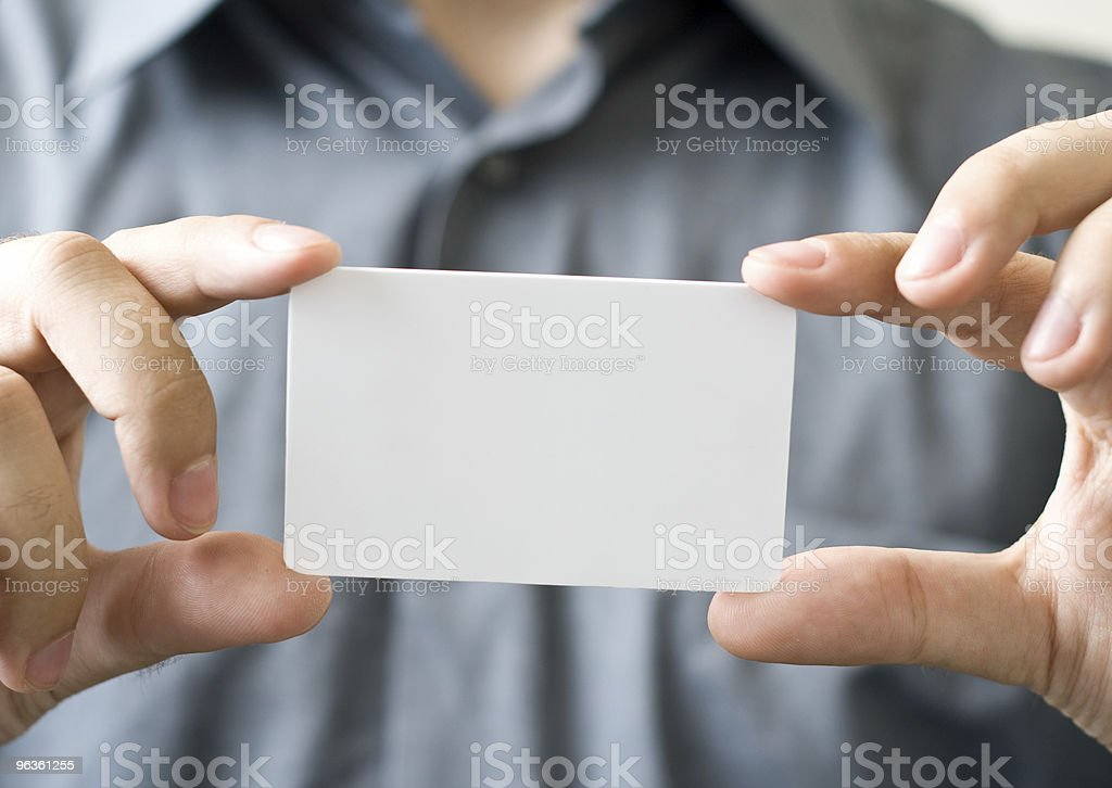 Man Holding Blank Card royalty-free stock photo
