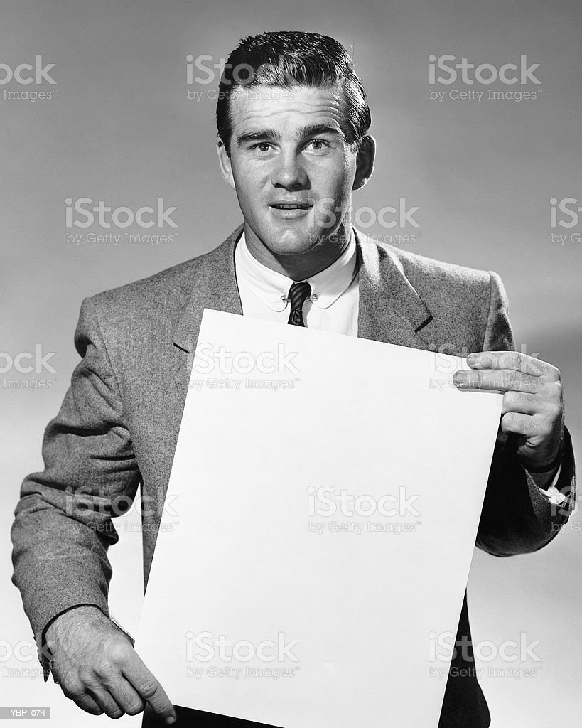 Man holding blank paper royalty free stockfoto