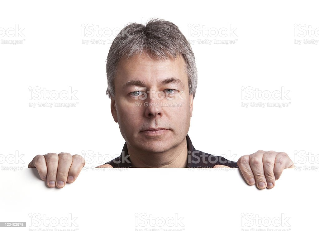 Man holding blank sign royalty-free stock photo