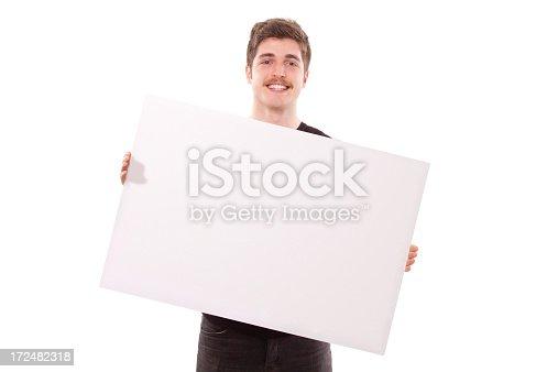 istock Man Holding Blank Sign 172482318