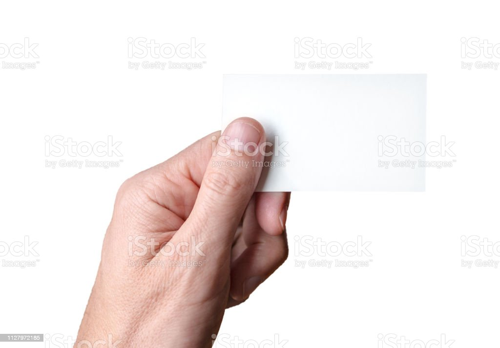 man holding blank visitcard,showing visit card stock photo