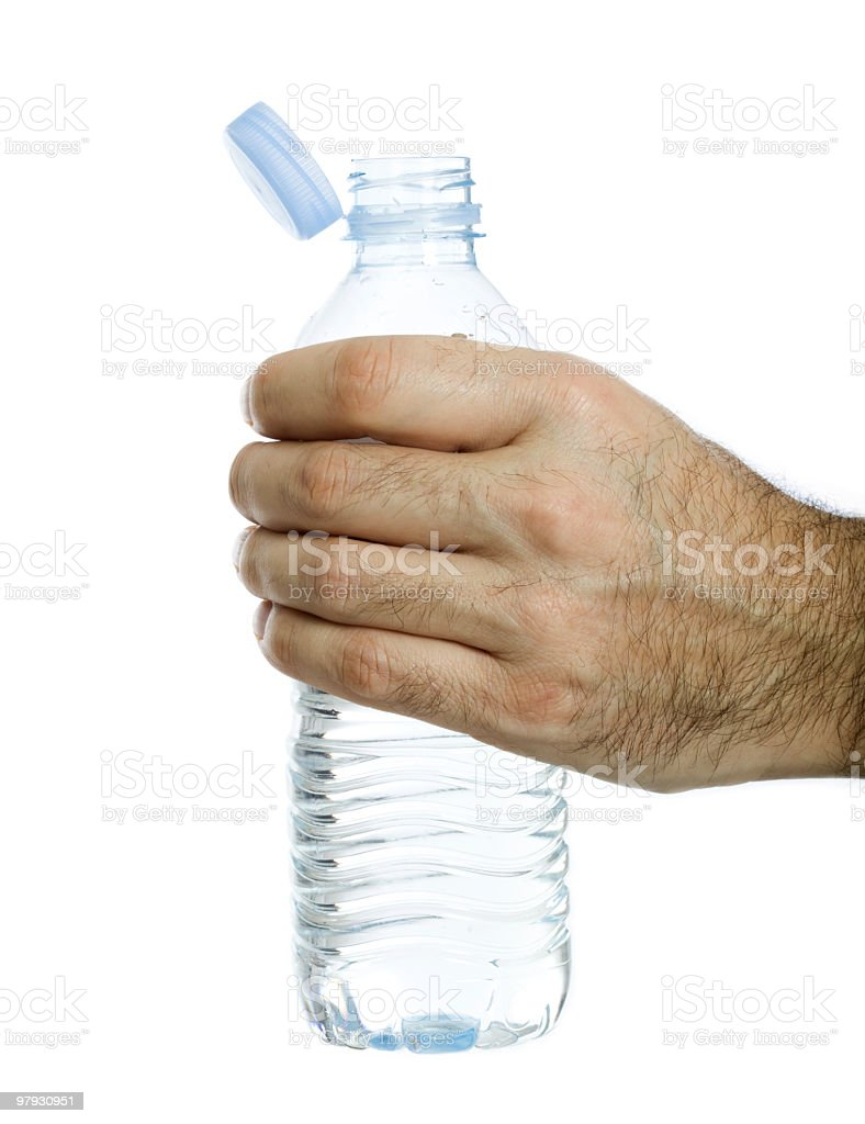 Man holding bottle of water royalty-free stock photo