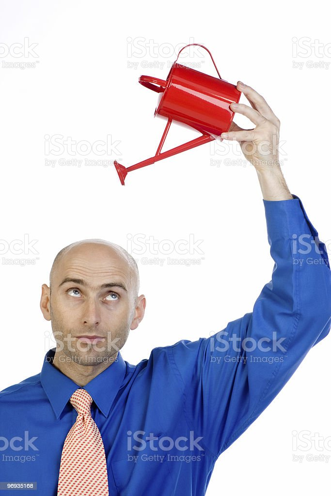 Man holding can over head royalty-free stock photo