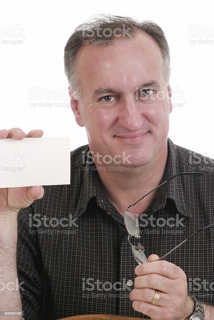 Man Holding Card and Glasses royalty-free stock photo