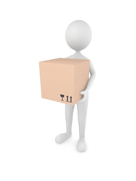 mann hält karton-box - versandrolle stock-fotos und bilder