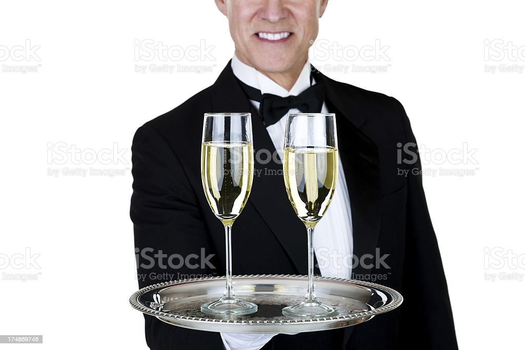 Man holding champagne glasses royalty-free stock photo
