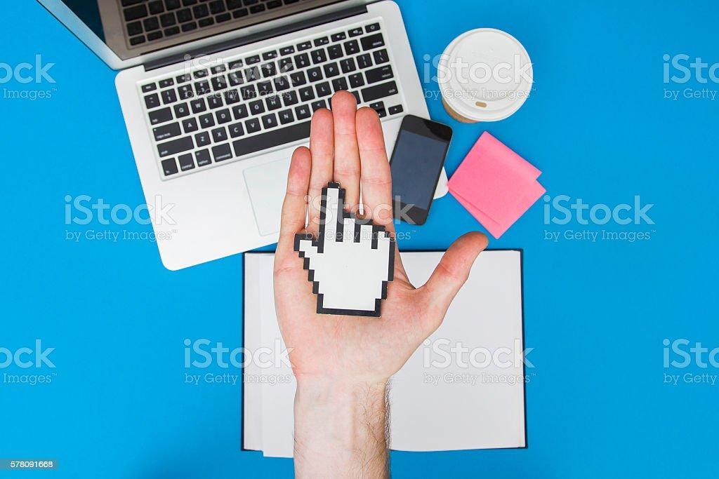 Man holding cursor stock photo