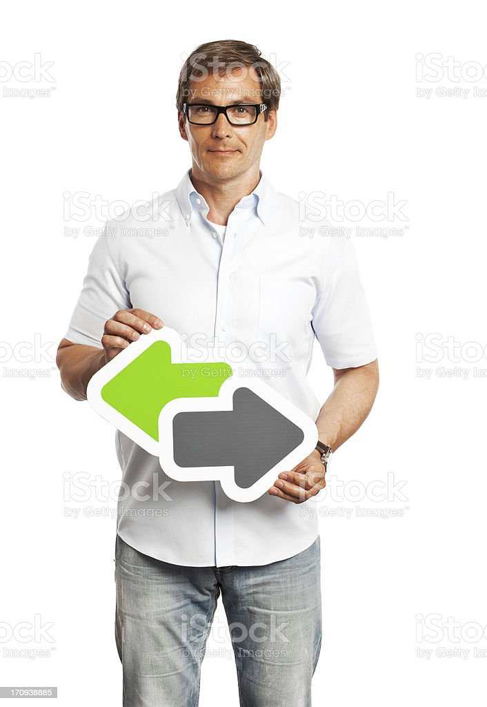 Man holding data trade sign isolated on white background. royalty-free stock photo