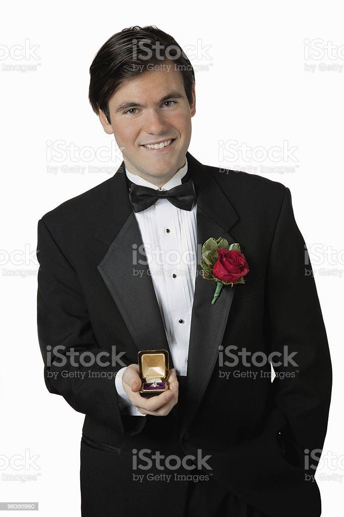 man holding Diamond Engagement Ring royalty-free stock photo