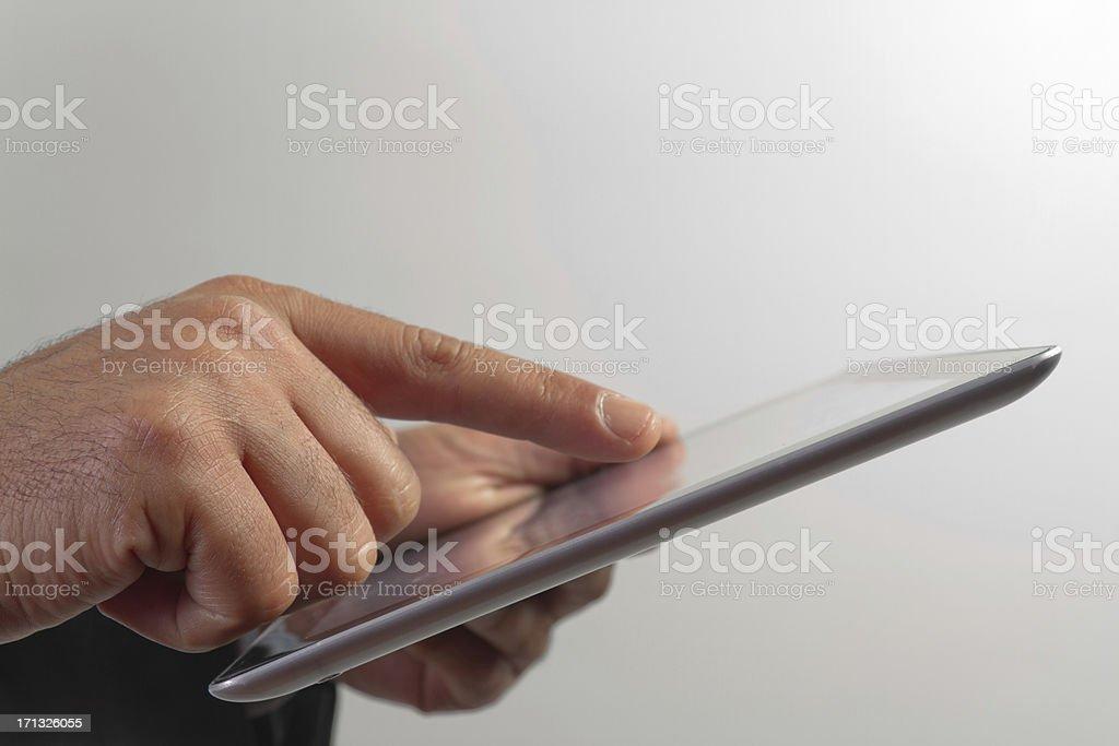 Man holding digital tablet royalty-free stock photo