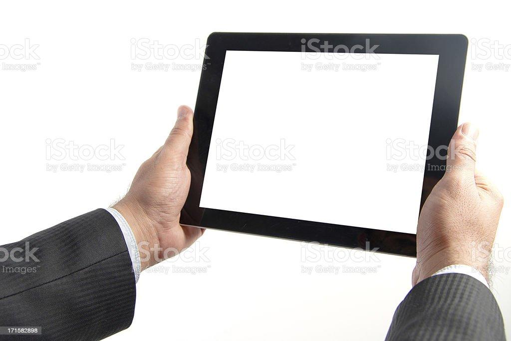 Man holding digital tablet royalty-free stock photo