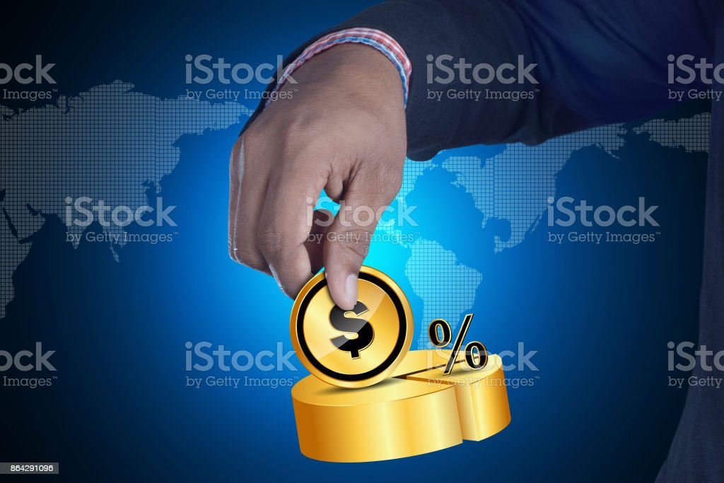 Man holding dollar and percentage sign royalty-free stock photo