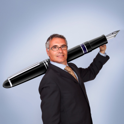 Man Holding Fountain Pen Stock Photo - Download Image Now