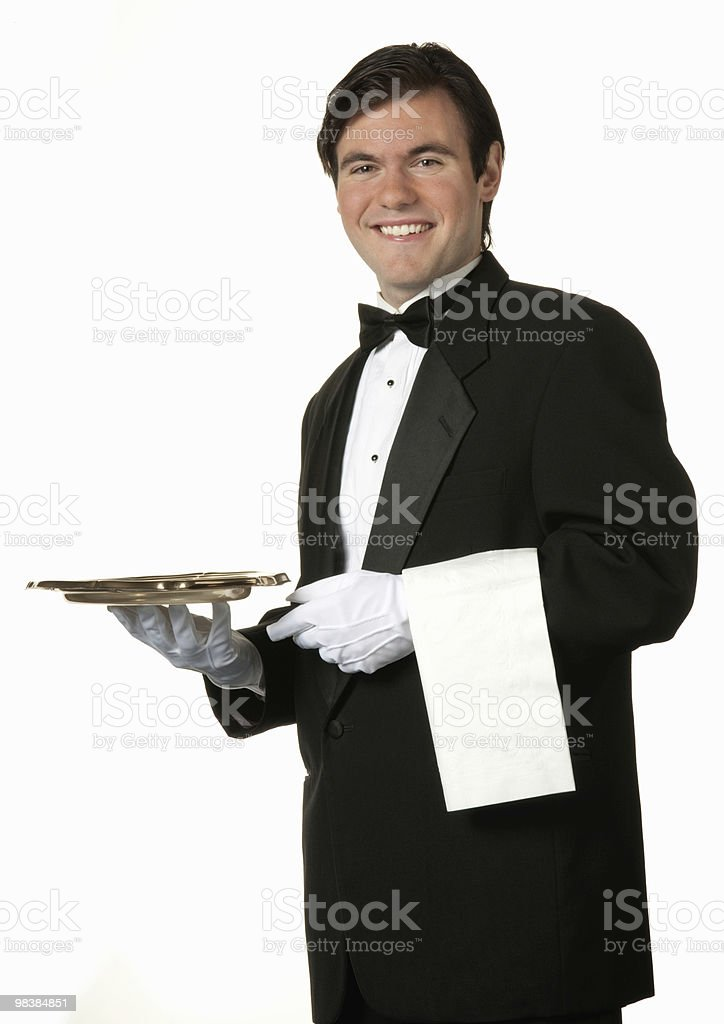 man holding gold tray royalty-free stock photo
