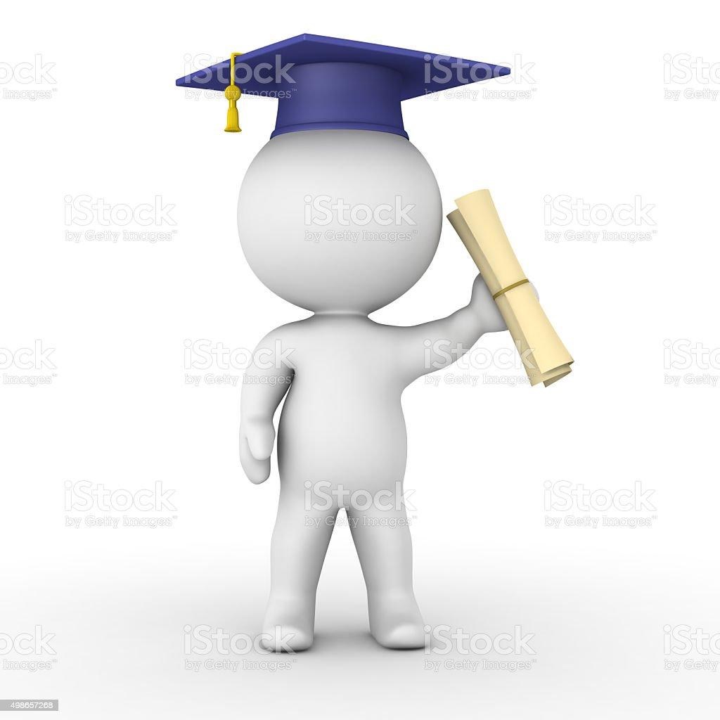 3D Man holding graduation diploma stock photo