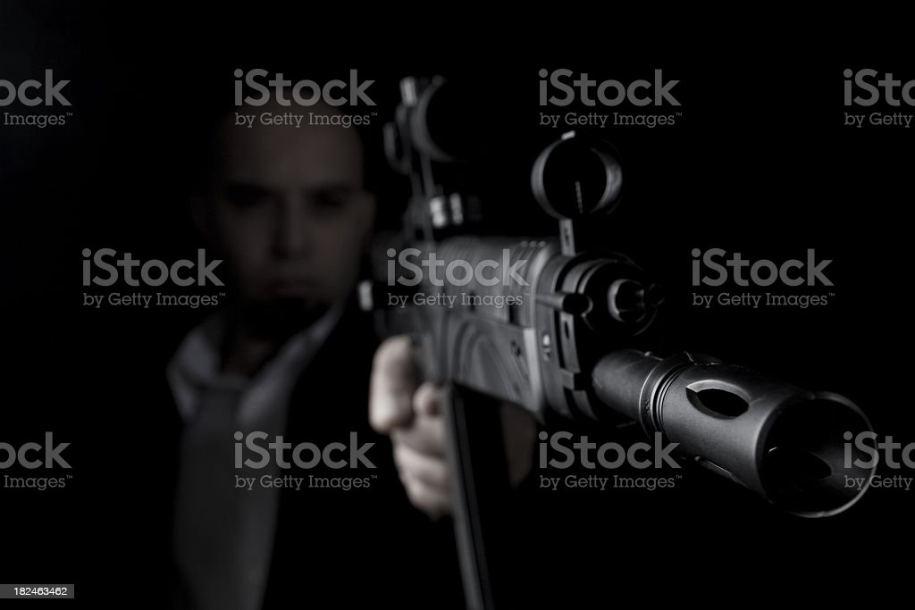 Man holding gun royalty-free stock photo