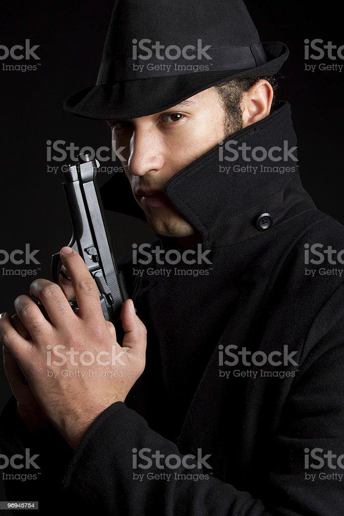 Man Holding Gun royalty-free stock photo