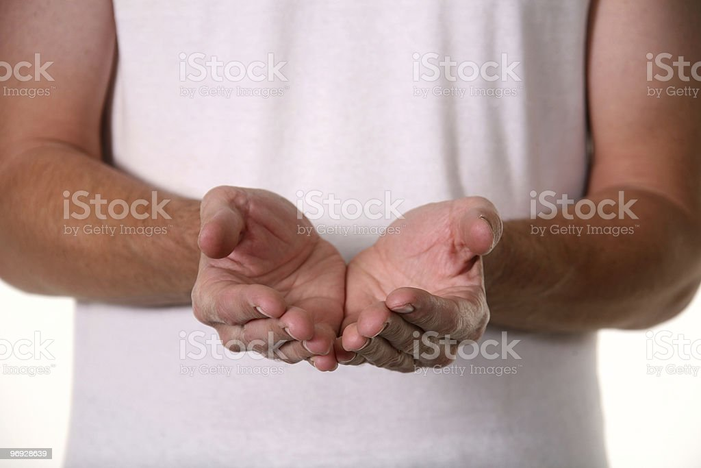 Man Holding Hands Cupped royalty-free stock photo
