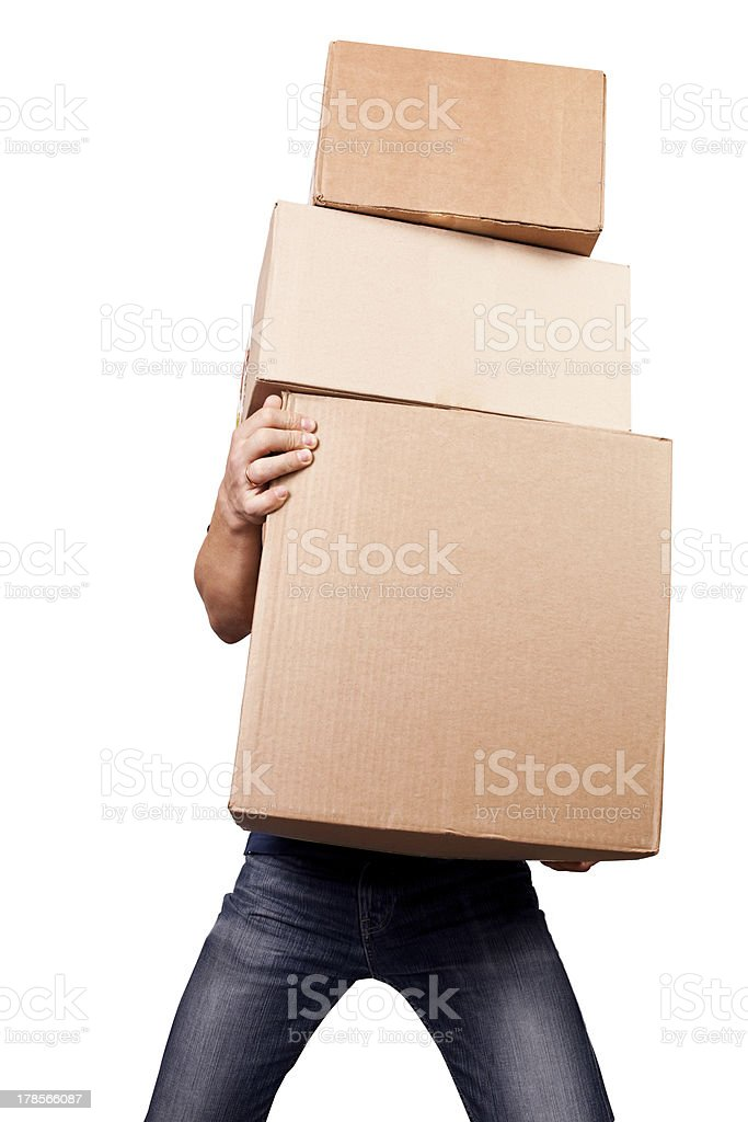 Man holding heavy card boxes, isolated on white stock photo