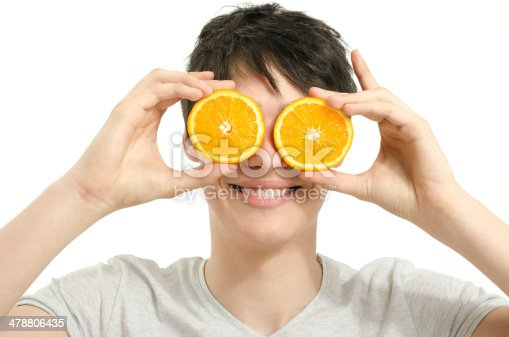 istock Man holding in front of eyes oranges,salad, fruits, smoothie 478806435