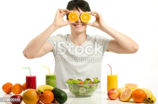 istock Man holding in front of eyes oranges,salad, fruits, smoothie 478806449