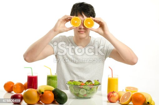 istock Man holding in front of eyes oranges,salad, fruits, smoothie 478806459