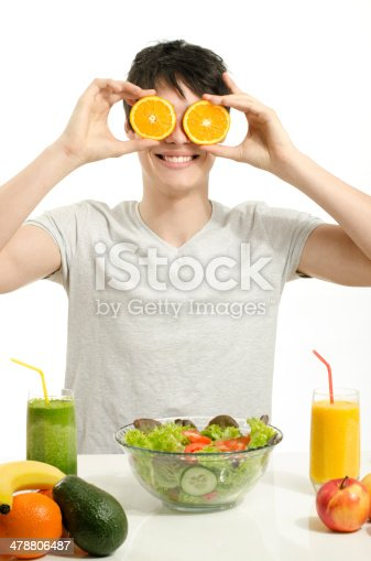 istock Man holding in front of eyes oranges,salad, fruits, smoothie 478806487