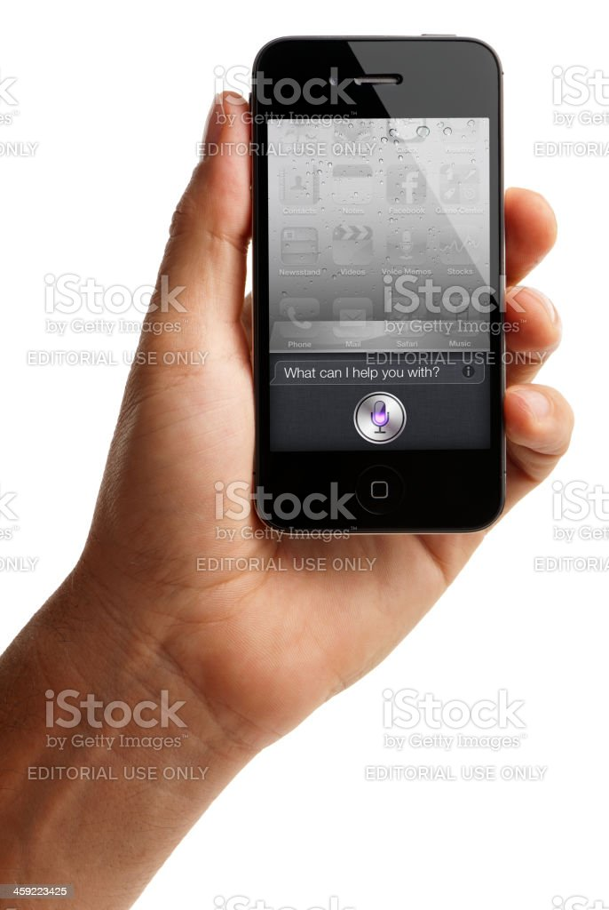 Man Holding iPhone 4s with Siri royalty-free stock photo