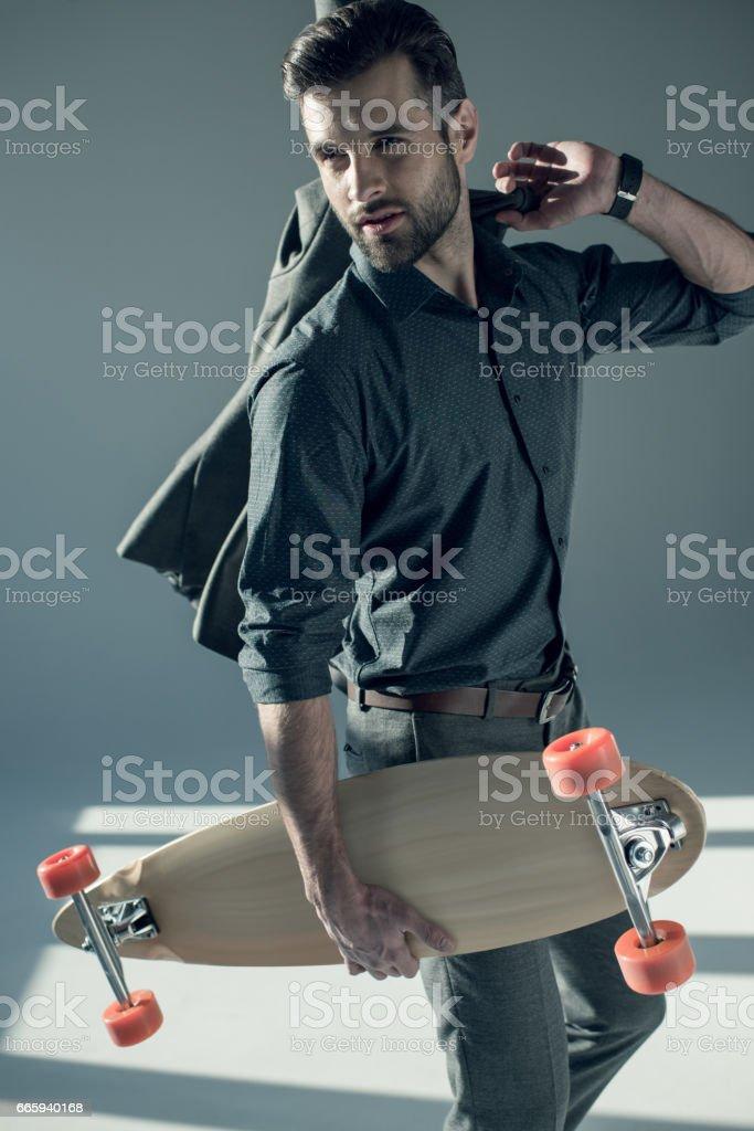man holding jacket foto stock royalty-free