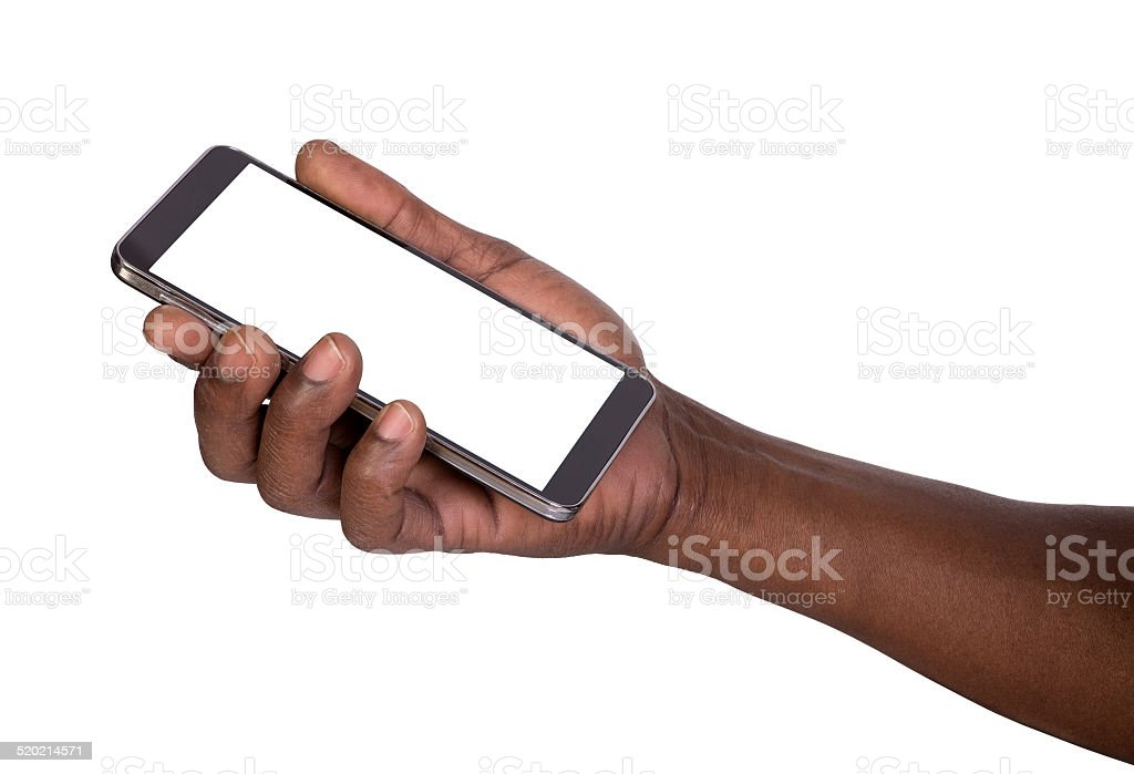 Man holding mobile smart phone stock photo