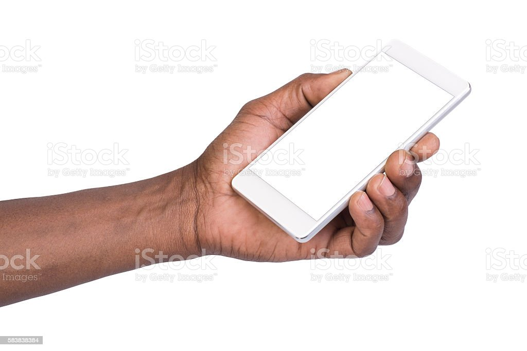 Man holding mobile smart phone with blank screen stock photo