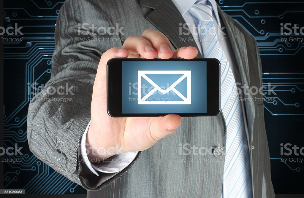 Man holding mobile smart phone with message on its screen stock photo