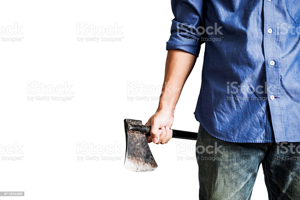 Man holding old rusty axe, isolated on white background – Foto