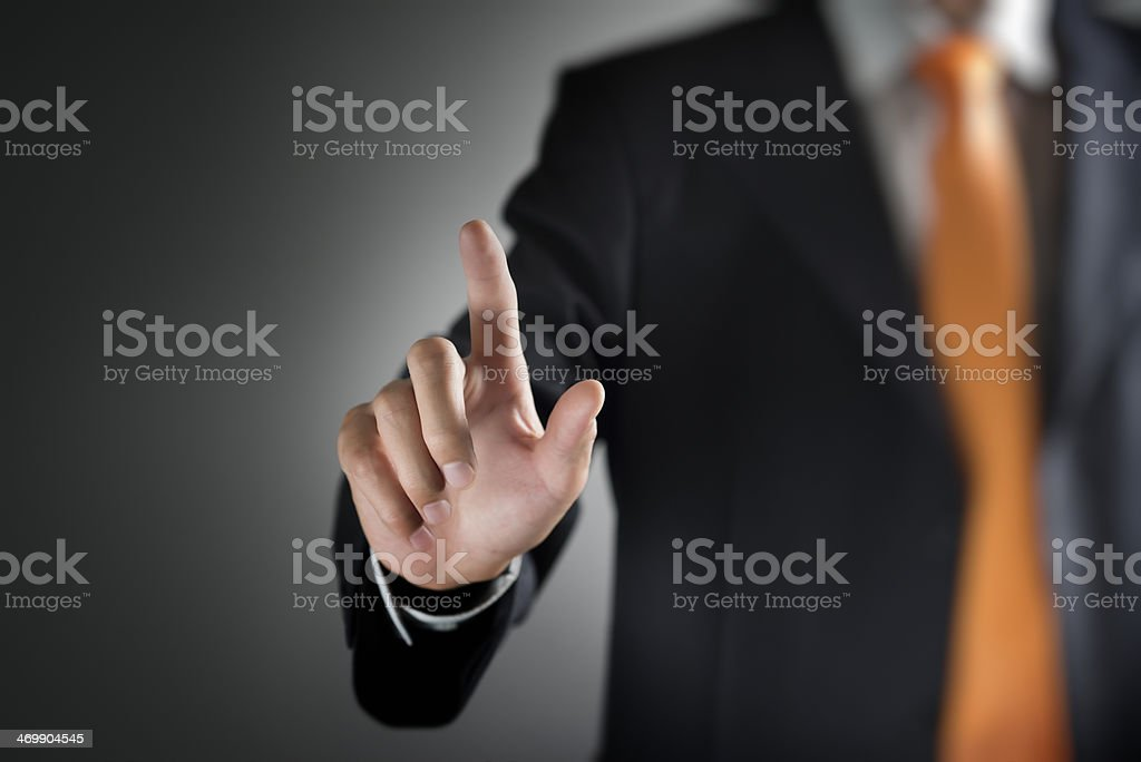 Man holding out his hand to touch clear screen royalty-free stock photo