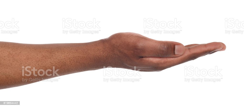 Man holding palm open isolated on white stock photo