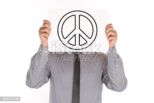 istock Man Holding Paper With Peace Sign 540212752