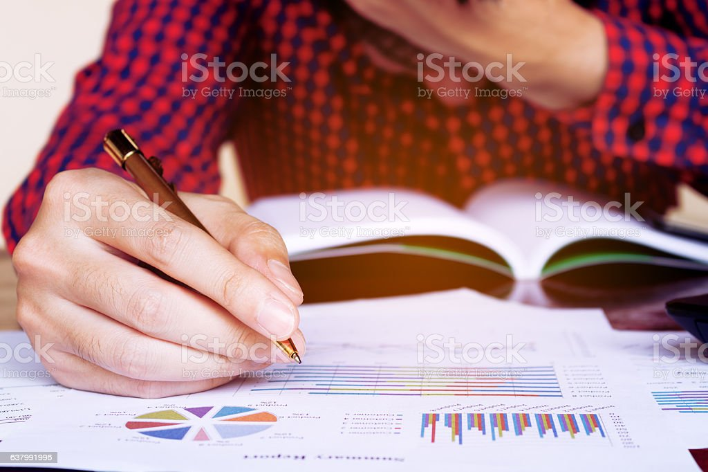 Man holding pen and stress in problem with expenses.