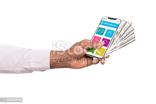Earning money in internet. Man holding smartphone with digital wallet application and dollar cash, isolated on white background