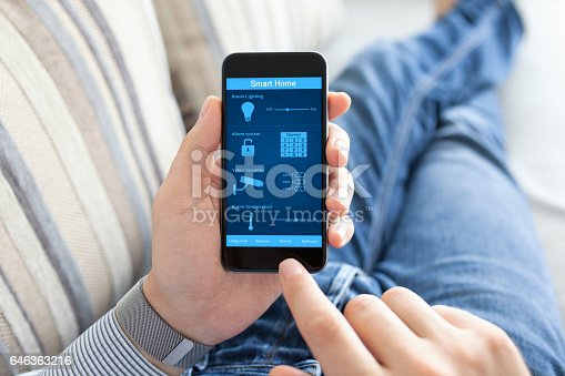 istock man holding phone with smart home on screen 646363216