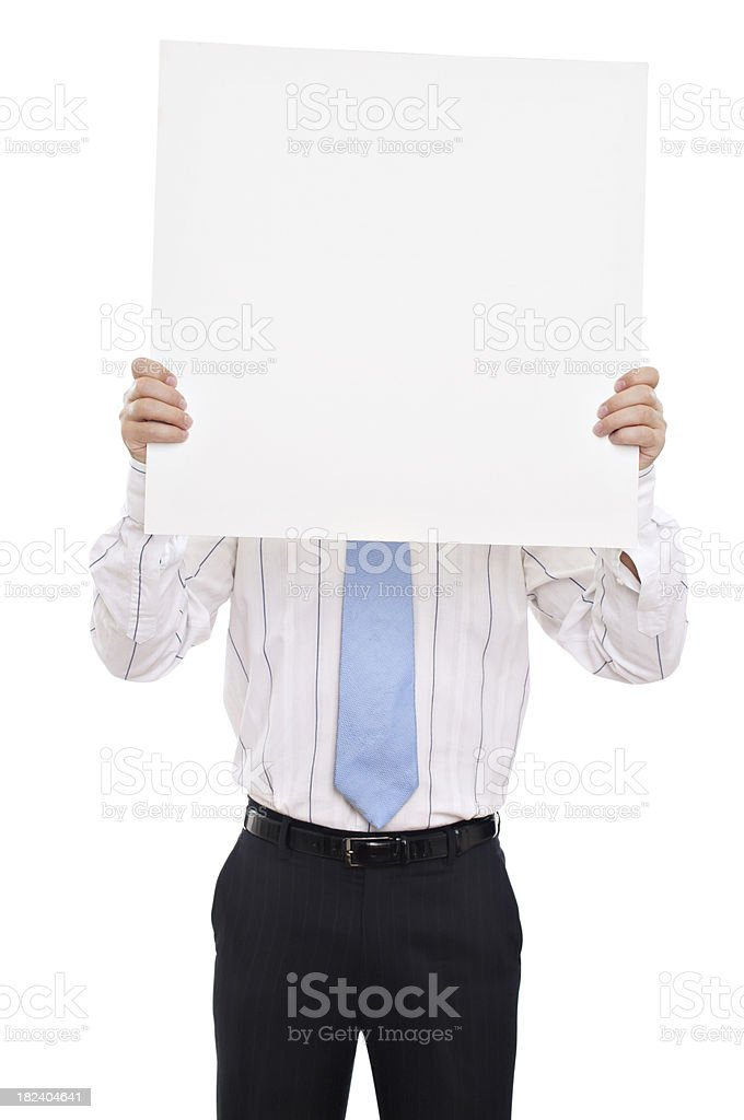 Man holding placard in front of his face stock photo