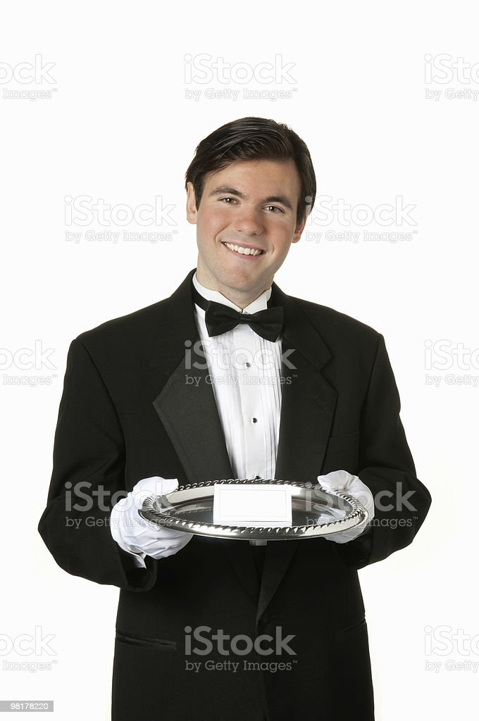 man holding silver tray with blank card royalty-free stock photo