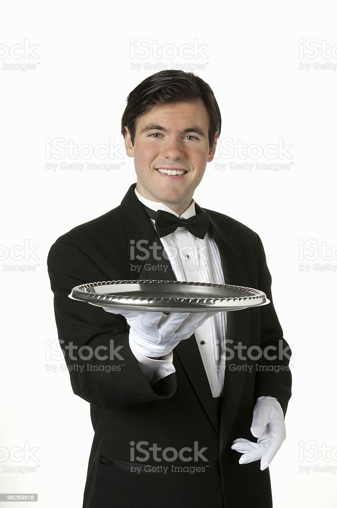 Man holding sliver tray royalty-free stock photo
