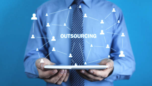 Man holding tablet. Outsourcing, business strategy concept Man holding tablet. Outsourcing, business strategy concept outsourcing stock pictures, royalty-free photos & images