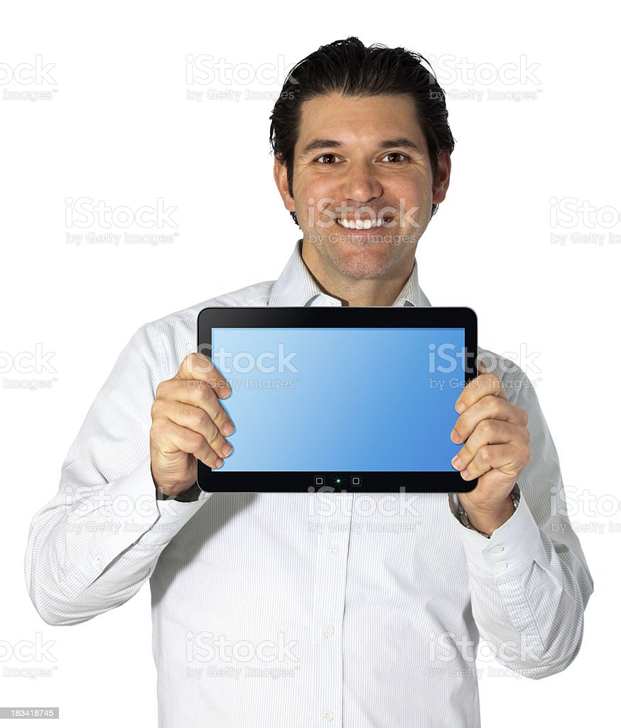 Man Holding Touch Pad At Viewer royalty-free stock photo